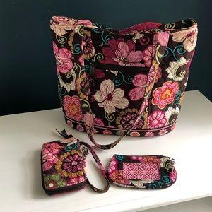 Vera Bradley Mod Floral Pink Set w/ Tote Wristlet